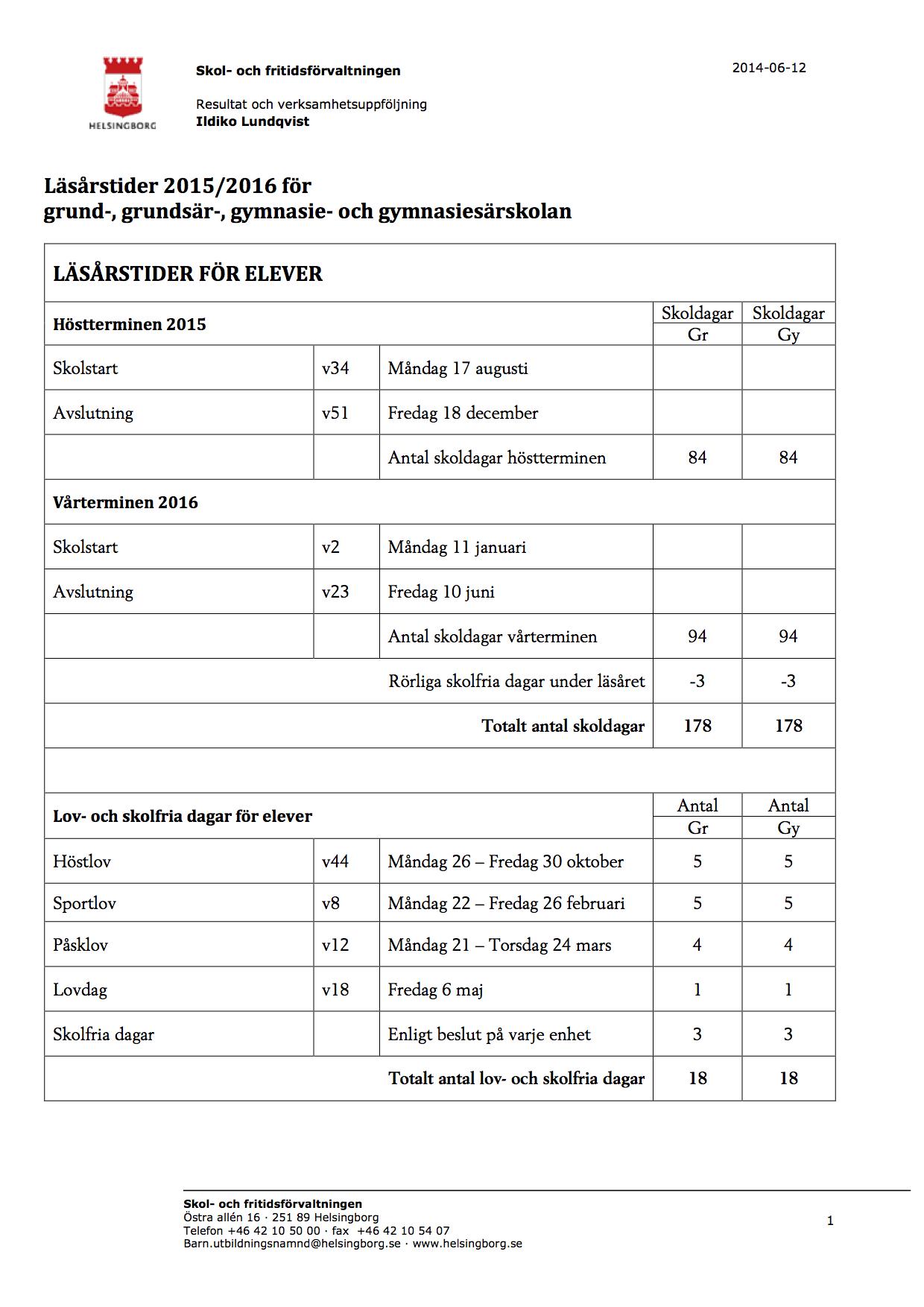 Läsårstider 2015-16